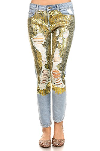 MeshMe Womens Penelope - Gold Toned Sequin Glam Embellished Jean Trousers Trendy Chic Bottoms Ripped Torn Golden Tone Sequined Distressed Denim Pants Midrise Casual Boyfriend Jeans 30 meshmefashion (Pants Sequin Jeans)