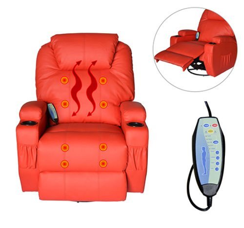 PU Leather Heated Vibrating Massage Recliner Sofa Chair Orange Lounge Seat With Ebook - Guest Smart Leg