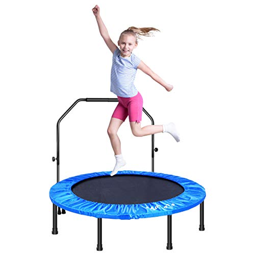 """MOVTOTOP 48"""" Folding Indoor Trampoline, Portable Trampoline Rebounder with Adjustable Handrail, Kids Adults Trampoline for Fitness Cardio Workout Training (Max Limit 286lbs)"""