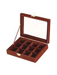 MonkeyJack 12 Grids Rings Cuff Links Earrings Jewelry Box Case Display Storage Velvet Jewellery Organizer