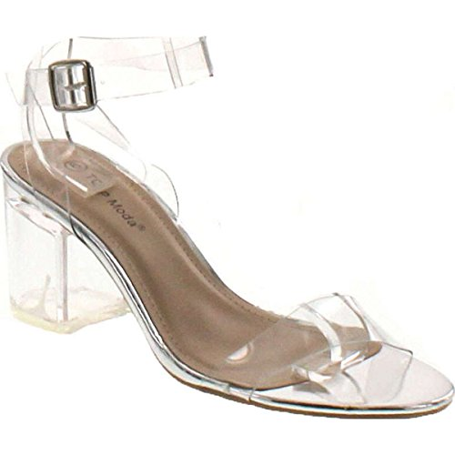 TOP Moda Womens Ivan-1 Lucite Clear Strappy Block Chunky High Heel Open Peep Toe Sandal,Silver,7