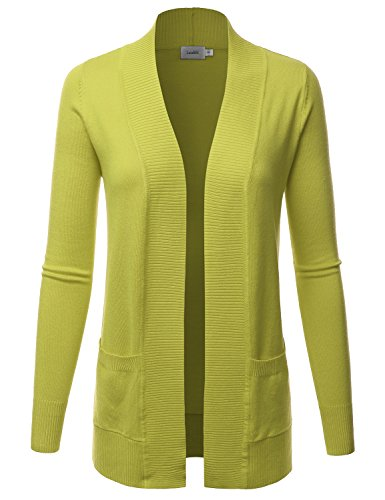 LALABEE Women's Open Front Pockets Knit Long Sleeve Sweater Cardigan-Lime-S
