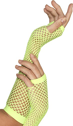Smiffy's Women's Long Fishnet Gloves - One Size, Neon Green - 80's Costumes, Triangle Net, Funky Outfit, Neon Goth, Scene, Raves, Fingerless - 2 (80 S Outfit)