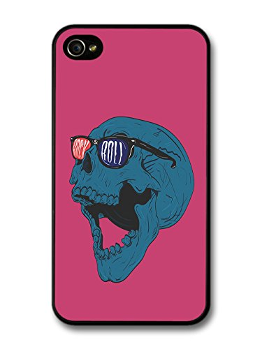 Cool Rock and Roll Skull in Blue with 3D Glasses Retro Design case for iPhone 4 4S