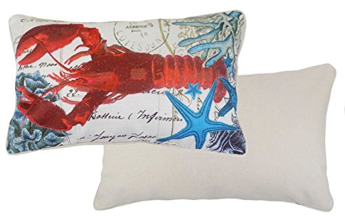 Starfish Linen (FILLED OCEAN SEA LOBSTER STARFISH LINEN COTTON BLEND BLUE EMBROIDERED BOUDOIR CUSHION 30 X 50CM)