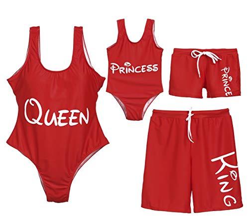 Family Matching Queen King Prince Princess Bathing Suit Mom&Girl Round Neck Sleeveless Monokini Dad&Boy Swim Trunks (Dad, Dad L) ()