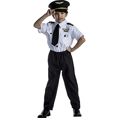 Dress Up America Deluxe Childrens Pilot Costume Set,White,Small