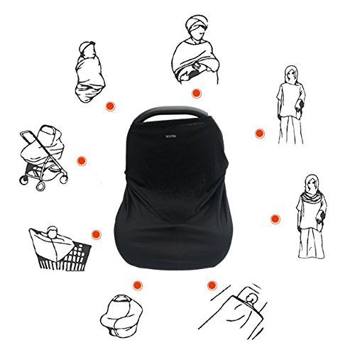 415BGrg9MoL - Black Baby Car Seat Covers,Breastfeeding Cover Nursing Scarf,Infant Stroller Cover,Car Seat Canopy For Girls And Boys By TSD STORY(Cover+Beanie+Small Bag)
