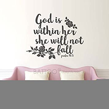 Amazon Com Battoo God Is Within Her Scripture Wall Decal Quotes