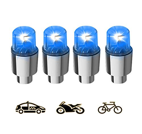 Gechiqno 4 Pair LED Green-Color Wheel Lights - Car Bike Wheel Tire Tyre Valve Dust Cap, Safety, Waterproof, Motion Activated, Spoke Flash Lights Car Valve Stems & Caps Accessories (Blue)