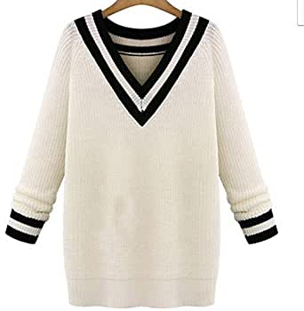 White Loose Long-Sleeved Pullover For Women Size - L