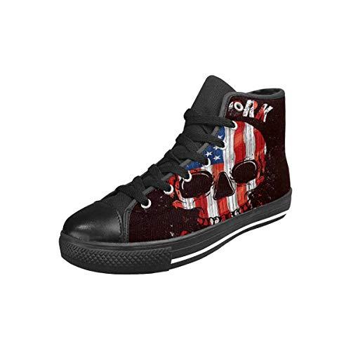 INTERESTPRINT Women's Classic High Top Flats Lace-up Sneaker USA American Flag Skull New York US9