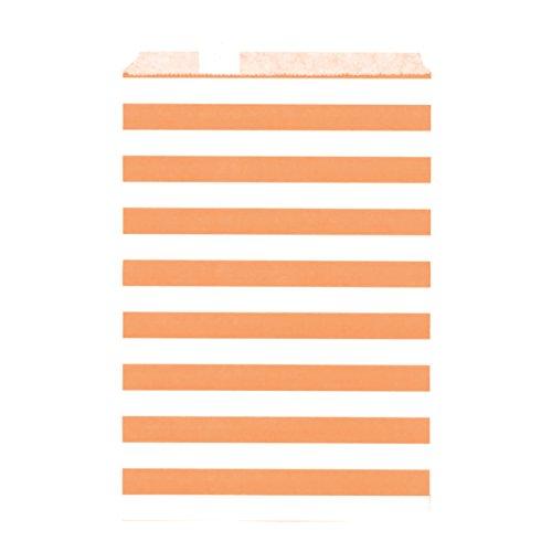 100CT Large Stripe Orange Biodegradable, Food Safe Ink & Paper Cookie Bag, Eco-friendly Favor Bag, Treat Bag (Stripe Large, (Orange Donut)