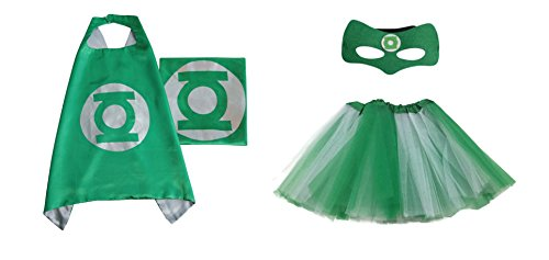Rush Dance Kids Children's Deluxe Comics Super Hero CAPE & MASK & TUTU Costume (Green Lantern (Green White (Green Lantern Womens Costume)