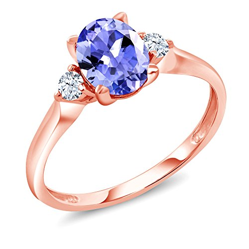 1.26 Ct Oval Blue Tanzanite White Created Sapphire 10K Rose Gold 3-Stone Ring