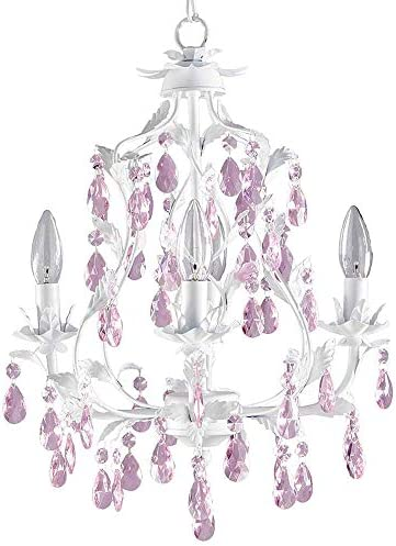 Isabella Crystal Chandelier in White, 4-Light
