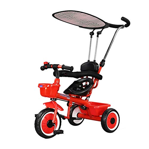 Xing Hua Shop Stroller Toys Children's Tricycle Bicycle 2-3-5 Year Old Children's Bicycle Cart Folding Three-Wheel Bicycle with Sunshade (Color : Red) ()