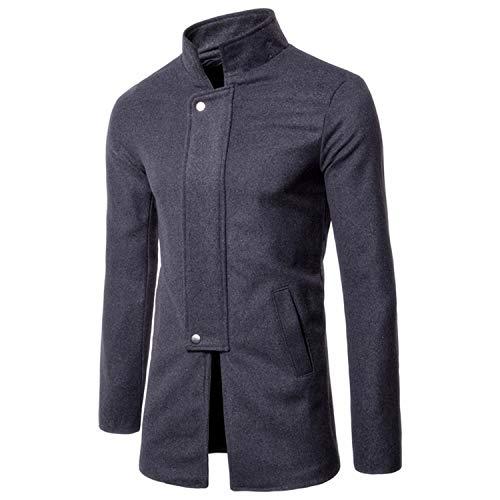 Soluo Men's Wool Trench Coat Winter Slim Fit Wool Jacket Long Peacoat Overcoat Outwear Topcoat