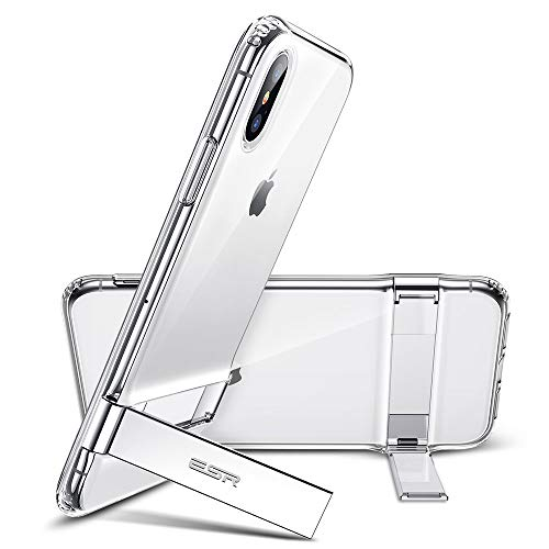 (ESR Metal Kickstand Case for iPhone Xs Max, [Vertical and Horizontal Stand] [Reinforced Drop Protection] Flexible Soft TPU for iPhone 6.5 inch(2018)(Jelly Clear))