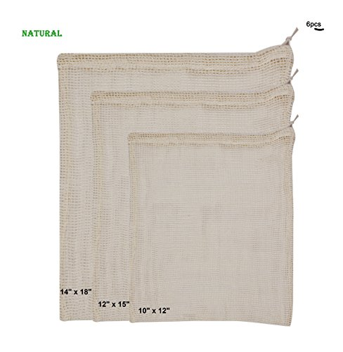 Free Eco Friendly Bags (100 % Cotton MESH produce Bag - Natural. Pack of 6 ( Small, Medium, Large - 2 each). Eco Friendly.)