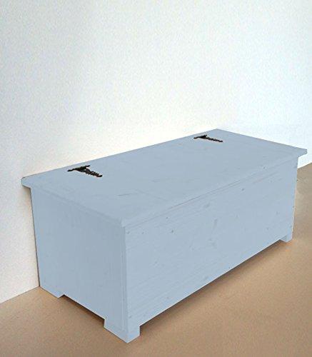 Amico Legno Cassapanca in multistrato con cerniera esterna Cod 56 120x45x47 Smalto Ad Acqua Colore Celeste