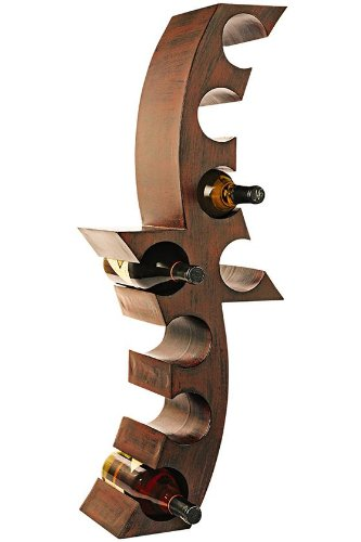Southern Enterprises Wine Bottle Wall Mount Rack - Decorative Functional Storage - Holds 8 Wine Bottles