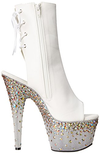 Pleaser STARSPLASH-1018-7 Wht Faux Leather/Frost-Slv Hologram Star