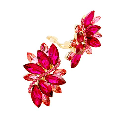 [Rosemarie Collections Women's Crystal Cluster Statement Clip On Earrings (Gold Tone Fuchsia Pink)] (80s Prom Dress Costume Ideas)