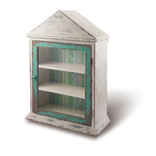 Foreside Vintage Peak Roof Cabinet, Seafoam