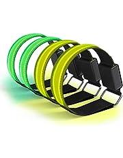 SASKATE 4 brazaletes reflectantes, recargables con LED, recargable, USB, pulsera luminosa de seguridad, tiras reflectantes con luces intermitentes para deportes nocturnos, correr, ciclismo