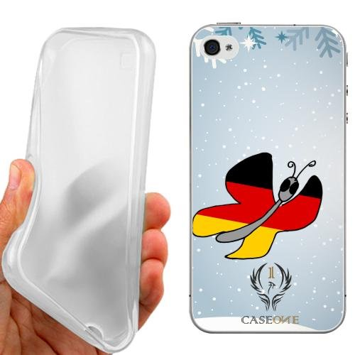 CUSTODIA COVER CASE CASEONE BUTTERFLY GERMANY PER IPHONE 4 4G 4S