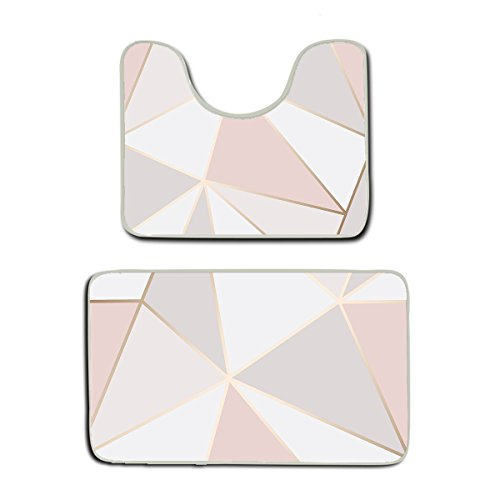 AMERICAN TANG Memory Foam 2 piece bathroom rug set - Rose Gold Geometric mirror Pattern - Skidproof bath Mat And Toilet Seat Contour Cover rug