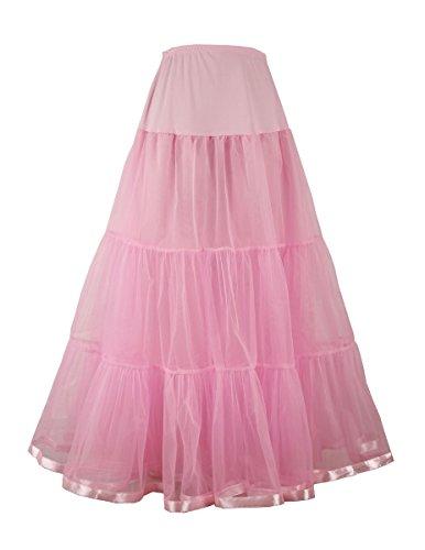 Women's Ankle Length Petticoat Crinoline Underskirt for Long Dress (S-M, Pink) ()