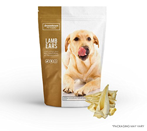 Downtown Pet Supply All Natural Lamb Ears for Dogs, Healthier Dog Training Chew Treats than Pig Ears and Rawhide - High Protein Treats for Dogs (12-Pack)