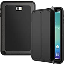 For Samsung Galaxy Tab A 10.1 Case(SM-T580),JOBSS Hybrid Shockproof Rugged built-in screen protector Stand Flip Protective Smart Case For Samsung Galaxy Tab A 10.1(SM-T580) Black