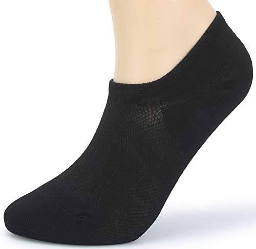 (Leotruny Women's 6 Pairs Bamboo Mesh Design Low Cut Non Slip No Show Socks (C01-Black, Women Shoe Size: 6-9) )