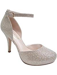 Women's Platform Sandals-Feather Rhinestones Straps-Mid...