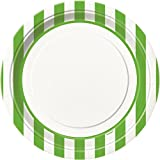 Lime Green Striped Paper Plates, 8ct