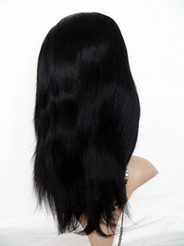 """High-Quanlity Full Lace Wigs 22"""" Soft-malaysian Hair 100% Remy Human Hair Wig YAKI Natural Straight #1"""