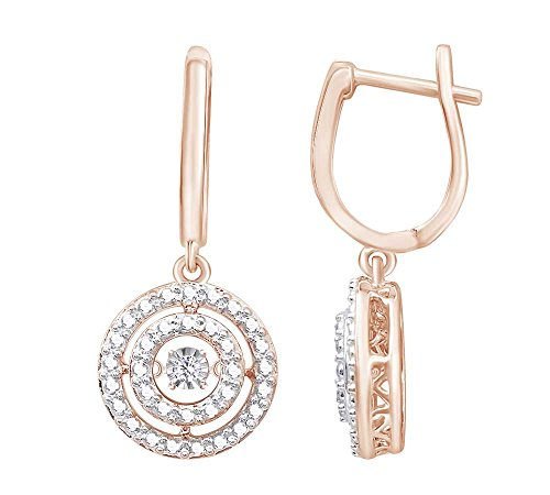 Christmas Sale (0.05 cttw) Round Cut White Natural Dancing Diamond Circle Drop Earrings In 14k Rose Gold Over Sterling Silver