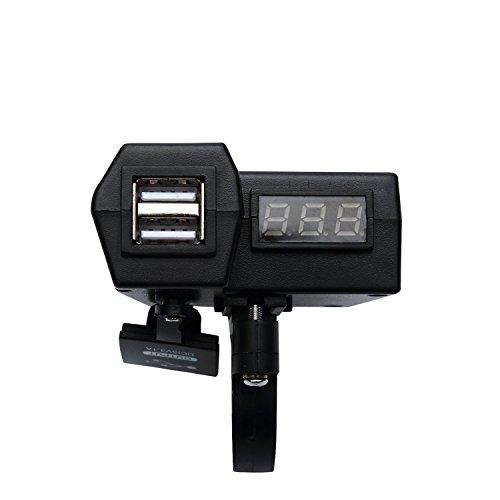 ocamo Cargador de teléfono USB para motocicleta voltímetro 3en 1con interruptor de encendido/apagado de alimentación...