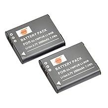 DSTE® 2x Li-90B Replacement Li-ion Battery for Olympus SH-50 iHS SH-60 SP-100 Tough TG-1 TG-2 TG-3 TG-4 TG-5 XZ-2 iHS Camera as LI-92B
