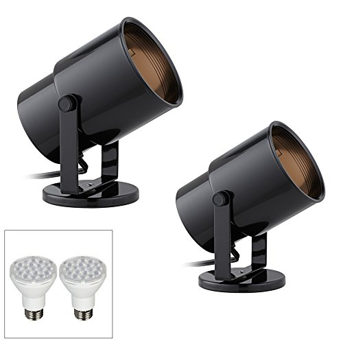 Cord-n-Plug Black LED Accent Uplight w/Foot Switch Set of 2