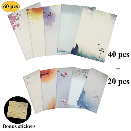 NUIBY 60 Pcs Stationery Paper and Envelopes Set (40 Stationery Paper + 20 Envelopes) Letter Set, Ink Painting Classic Vintage Antique Design]()