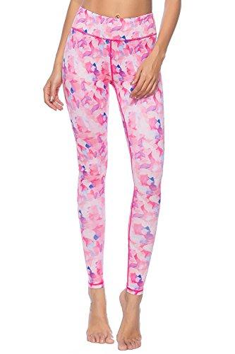 d Pattern Workout Leggings Soft Active Fitness Juniors Pants, Pink Petal, S ()