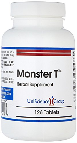 Monster T, Natural Testosterone Booster Support, with Stinging Nettle Root, Aspartic Acid, Zinc, L-Citruline, 126 Tablets