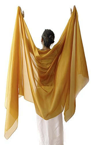 Nahari Silks Womens 100% Silk Dance Scarves Shawls Wraps Solid Colors Gold 137