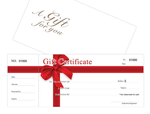 Blank Gift Certificates 25set, gift certificate for business, Gift-RED-RIBBON-PP, Comes with Free matching Envelopes, Sequential Numbering Printing- Small Business, Spa, Makeup,Hair Beauty Salon
