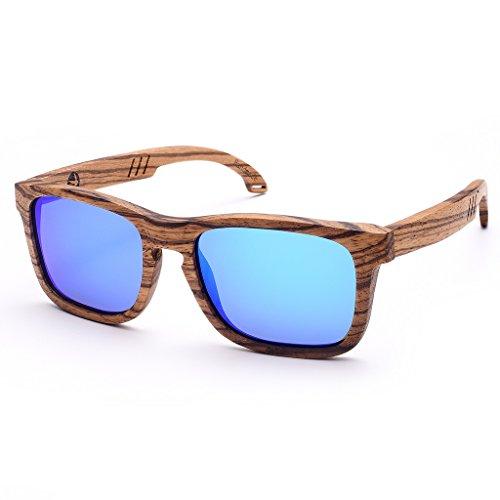 SKADINO JUSTIN Wood Sunglasses with Polarized lenses-Handmade Wood Shades for Men&Women-Zebra Wood SKD171 ()