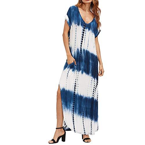 Women's Casual Plain Simple T-Shirt Loose Dress Blue]()